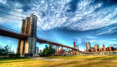 Brooklyn Bridge (Sienar) Tags: city trip bridge family vacation sky newyork color skyline clouds buildings photography cityscape brooklynbridge hdr highdynamicrange goodtimes acua chrisacuna