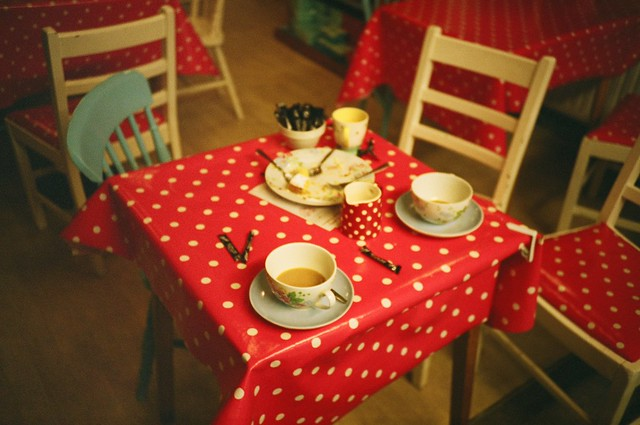 A deserted tea table in a café/book shop in Hastings old town (taken on Lomokev's Hot Shots course)