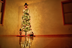 HDR Christmas Tree (JGo9) Tags: christmas wood tree canon eos lights snowman floor hard christmastree gifts ornaments hdr photomatrix t1i
