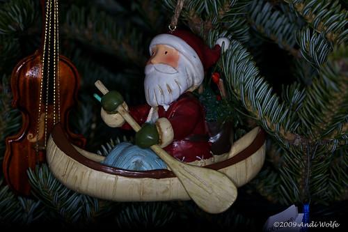 Santa in a canoe