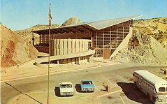 Quarry_Visitor_Center_Dinosaur_National_Monument (Edge and corner wear) Tags: park travel tourism museum architecture modern century utah ut nps postcard center 66 architect national transportation mission service visitors visitor mid automobiles midcentury mission66