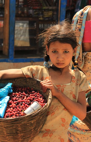 A girl selling 'kafal' during holiday in Dang District, will she be kamalari? Photo by: Swarupa