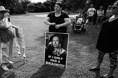 """""""If I Had a Brain"""" (Leighton Wallis) Tags: woman newcastle sony scarecrow protest nsw newsouthwales government alpha wizardofoz 16mm placard liberals marchinmarch liberalparty lnp tonyabbott mirrorless a7r ilce7r 2870mmf3556"""