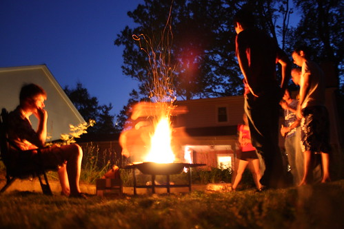 Great American Backyard Campout - Gathered around the firepit