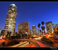 Collide, You & I ... (kennymuz) Tags: light fall night stars dawn los downtown traffic you 110 angles scene freeway shining collide breaking lightstreams kennymuz