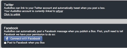 AudioBoo can link to both Twitter and Facebook