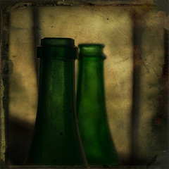 Empties (borealnz) Tags: light green window glass vintage square bottles tintype dust winebottles fauxvintage bsquare fauxtintype borealnz