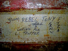 Rebel Tony / F.T.R.A. (Gumshoe Andy) Tags: ftra freighttrainridersofamerica freighttraingangs fuckthereaganadministration