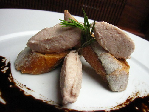 spuma di mortadella quenelles on crostini