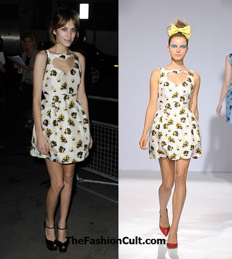 alexa chung wears luella spring 2010 to vogue private dinner london fashion week