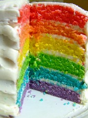 Rainbow cake (Andrea_R) Tags: food color cake dessert rainbow colours spectrum bright vibrant homemade nom omnomnom