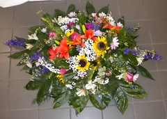 CS002  Casket Spray: Bright Summer Mix with Sunflowers