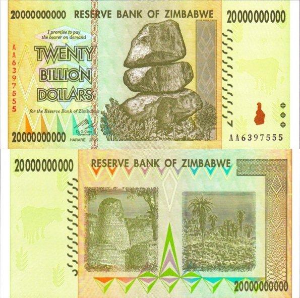 20 bilión dolárov Zimbabwe 2008