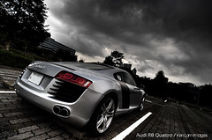 Audi R8 Quattro V10 in Tokyo Storm... (Ken.Lam) Tags: white storm black sports car japan clouds magazine tokyo automobile angle wide dream sigma semi professional german   audi brochure 1224mm v10 quattro r8 toyosu