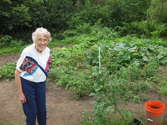 Great Grandma Jenks and her first garden (Grandpa always grew them before)