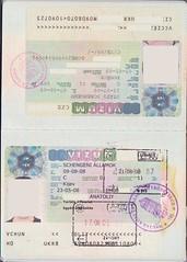 Ukrainian passport, pages 6-7 (Strooks-traveller1) Tags: control border stamp passport visa schengen