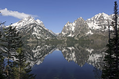 Reflections at Jenny Lake (bhophotos) Tags: blue lake snow mountains reflection nature water reflections landscape geotagged spring nikon day shadows wyoming tetons jacksonhole grandtetonnationalpark jennylake coth d700 2470mmf28g coth5 projectweather bruceoakley pwpartlycloudy