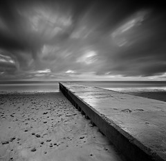 After The Rain Mono (Reed Ingram Weir) Tags: longexposure sky blackandwhite bw beach clouds sunrise canon mono pier extreme lee nd mk2 5d blyth rushing gnd 09h bw10stop reedingramweirnorthumberland