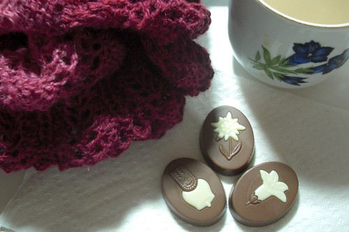 afternoon tea with chocolate covered swiss cookies and Johanna shawl