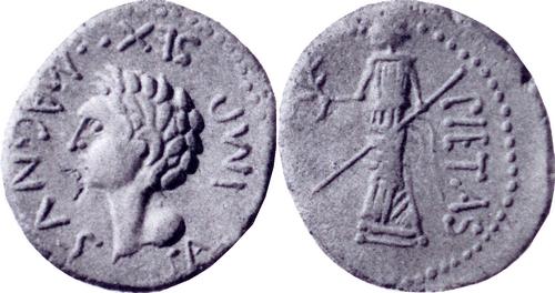 477-02 Denarius Pompey left Pietas standing