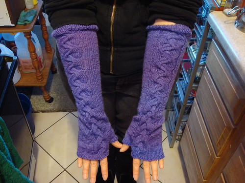 Purple Cabled Arm Warmers
