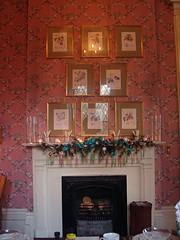 the dining room mantel decorated with sugar sticks and greenery and 8 framed botanicals on the wall