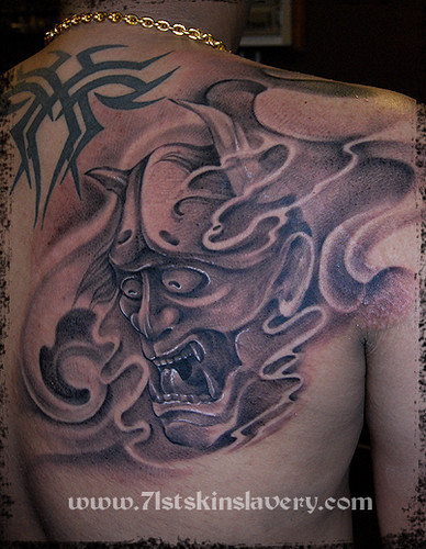 japanese hanya mask tattoo. www.71stskinslavery.com