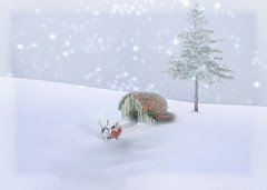 Christmas greetings. (Bessula) Tags: christmas snow tree hut santaclaus jul greeting sleds swieta innamoramento anawesomeshot bessula theunforgettablepictures saariysqualitypictures artistictreasurechest graphicmaster redmatrix travelsofhomerodyssey