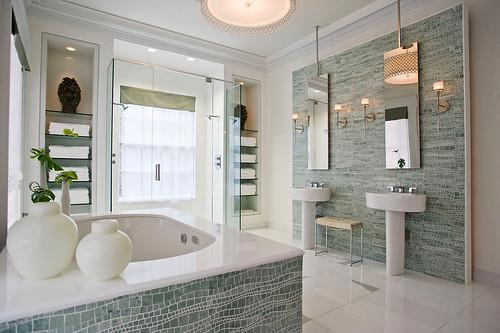 Interieur en Design tips op designidee.be | Mooie badkamer mozaïek