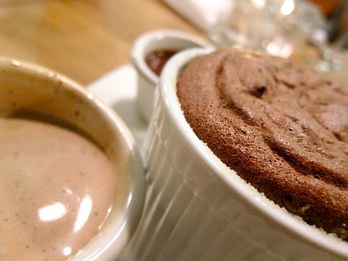 Dark Chocolate Souffle, Black Pepper Mill Chocolate Ice Cream, Chocolate Cream at Ludobites 4.0