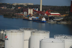 Swedish Port (Let Ideas Compete) Tags: city port town smoke swedish stack storage smokestack sdertlje tanks sdertalje sodertalje