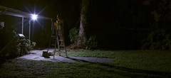 1:03 AM (alexis mire) Tags: lighting selfportrait girl grass night digital canon shadows panoramic reality ladder 103 gregorycrewdson t2i alexismire