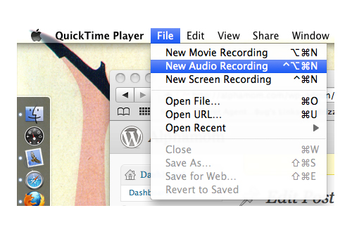 tutorial for creating a playlist on QuickTime (new audio recording)