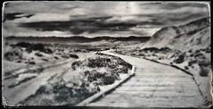 Salt Creek Boardwalk Tintype (Neal3K) Tags: deathvalley saltcreek bw blackwhite california sky clouds