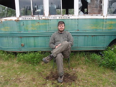 Me at the Magic Bus (ErikHalfacre) Tags: bus alaska hiking hike healy 142 magicbus christophermccandless intothewild stampedetrail chrismccandless erikhalfacre bus142 stampederoad