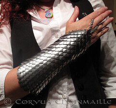 Bracer/Handflower (Redcrow at Corvus Chainmaille) Tags: aluminum mail steel jewellery scales armour stainless chainmail maille handflower chainmaille bracer scalemail scalemaille 10millionphotos