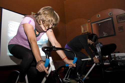 Ladies doing Goldsprints at afterparty