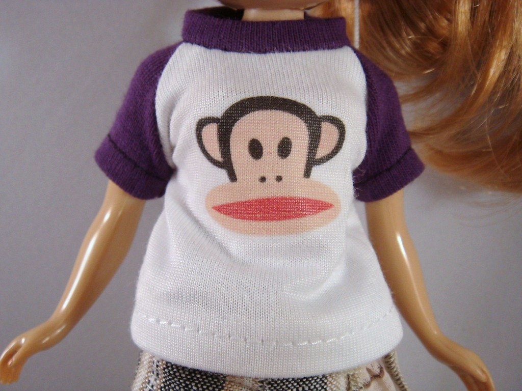 Blythe - Purple on White Raglan Baseball Tee with Paul Frank Monkey Print (BT-007)