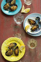 baked mussels (mwhammer) Tags: blue red party food color texture yellow juicy yum wine display mint garlic basil spicy mussels simple celebrate overhead plump savory oregano baked lively crispycrust melinahammer foodandpropstyling intheirshells