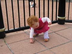 garden girl picks up gravel