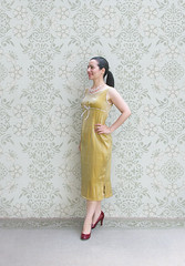Simple Yellow Dress (Elsita (Elsa Mora)) Tags: blue portrait orange inspiration selfportrait color art smile fashion photoshop self hair happy outfit nice shoes artist personal top sandals background inspired remix seed style skirt blouse hidden blogged wardrobe elsa mora selfexpression elsita