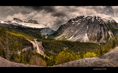 Icefields Parkway 30 Exposure HDR VertoPano (ecstaticist) Tags: travel sky panorama cloud mountain snow canada highway casio explore alberta frontpage hdr icefields photomatix vertorama exf1