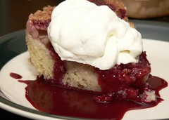 Nectarine cake with blackberry syrup (HarlanH) Tags: food cooking cake dinner dessert amazing whippedcream syrup impromptu nectarines cookingclub blackberrys