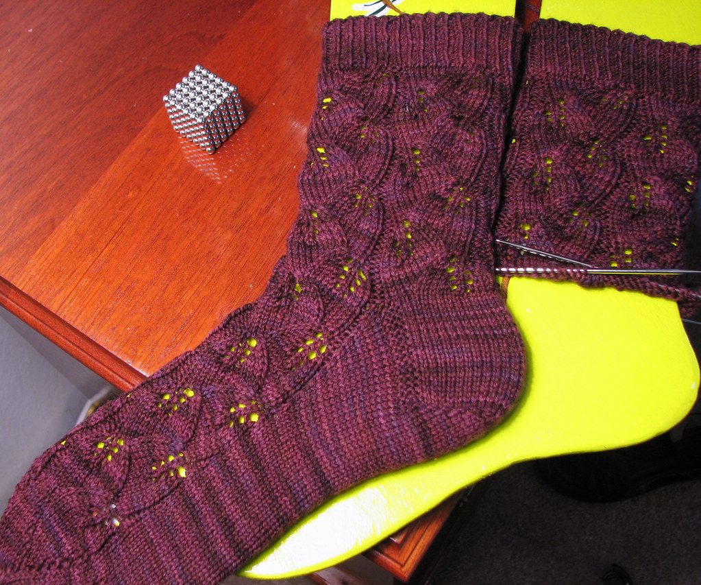 Embossed Leaves Socks: WIP