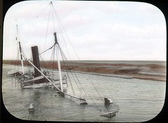 Sunken dynamite boat (The Field Museum Library) Tags: africa expedition chatham dynamite 1906 mammals steamer 1905 sunkenship lanternslide suezcanal britisheastafrica carlakeley zoologyexpedition handcoloredglasslanternslide dynamiteboat sschatham