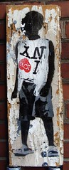 """plastic bag boy"" (l.e.t.) Tags: street new york streetart ny art america graffiti design artwork stencil sticker screenprint artist gallery contemporary kunst wheatpaste exhibition pop popart silkscreen artshow let"