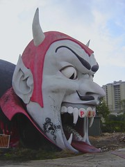 The fearsome Dante's Inferno head at Miracle Strip Amusement Park, Panama City Beach, Florida (stevesobczuk) Tags: abandoned ruins riviera florida demolition vacant redneck panamacitybeach miraclestripamusementpark