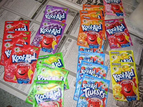 The Kool-aid packets ready...