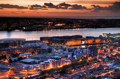 Albert Dock & Liverpool waterfront (John_Kennan) Tags: city sunset sky night liverpool river dark lights evening waterfront dusk citylights hdr highdynamicrange mersey albertdock rivermersey