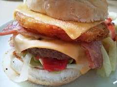Wimpy Bacon, Cheese & Hash Brown Burger (Chris Bloom) Tags: camera food brown mobile cheese lunch bacon phone beef burger cellphone cell fast samsung cellular delicious cheeseburger hamburger meal hash bun wimpy scottburgh pixon